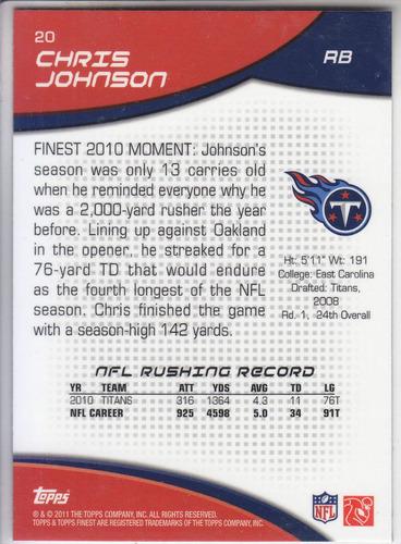 2011 topps finest base chris johnson rb titans