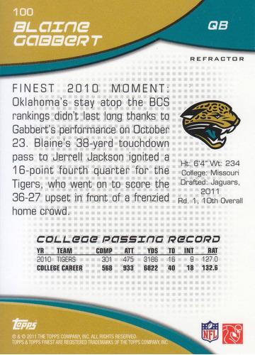 2011 topps finest refractor rookie blaine gabbert qb jaguars