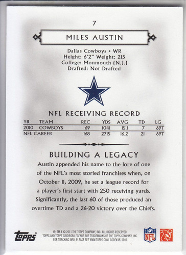 2011 topps legends blue thick miles austin wr cowboys