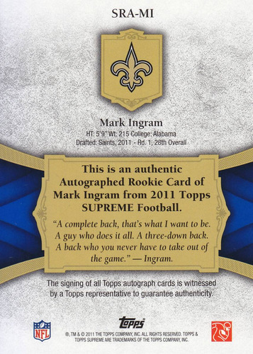 2011 topps supreme rookie autografo mark ingram /175 saints