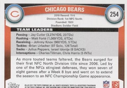 2011 topps team chicago bears
