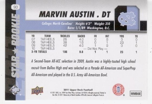 2011 upper deck marvin austin sp rc new york giants