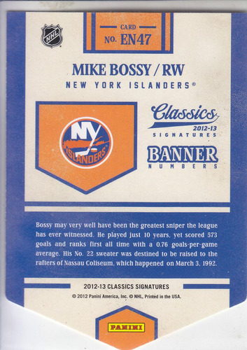 2012-13 classics banner numbers mike bossy islanders nhl