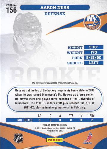 2012 - 2013 certified rookie autografo aaron ness islanders