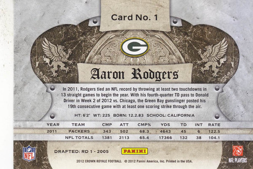 2012 crown royale aaron rodgers qb packers