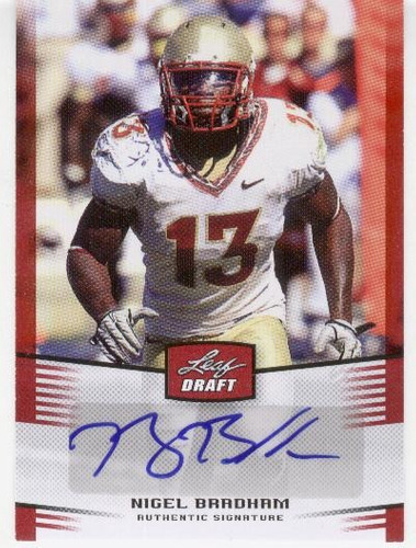 2012 leaf autografo nigel bradham rookie buffalo bills