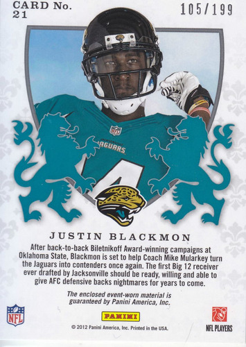 2012 rs crusade rookie jersey justin blackmon /199 jaguars