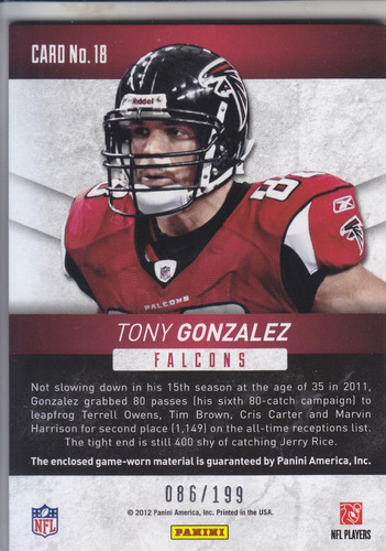 2012 rs revolution mat jersey tony gonzalez 86/199 falcons