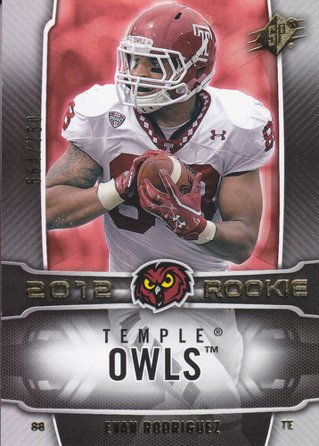 2012 spx rookie evan rodriguez 564/750 fb temple owls bears