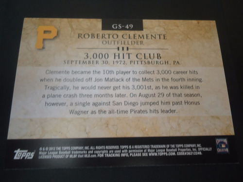 2012 topps gold standard #gs-49 roberto clemente of pirates