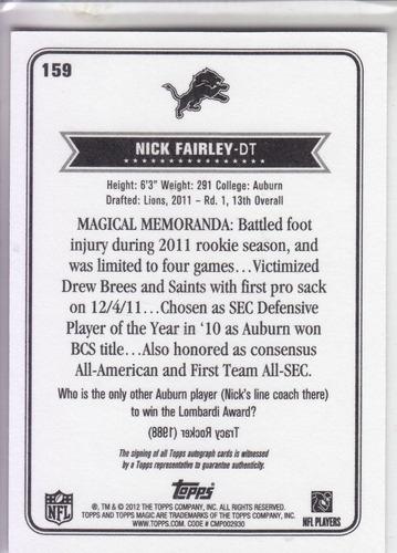 2012 topps magic autografo nick fairley dt detroit lions