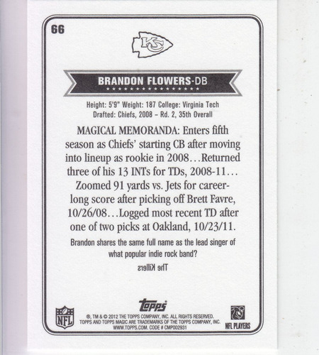 2012 topps magic brandon flowers db kc chiefs