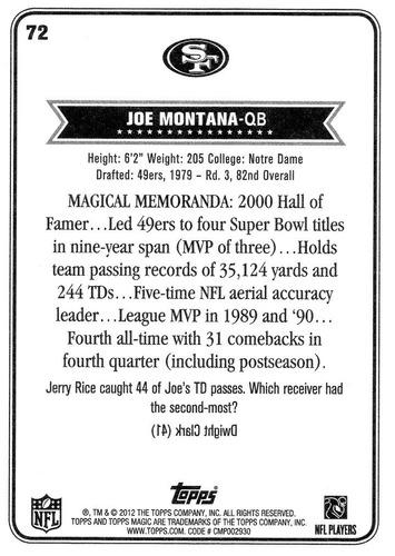 2012 topps magic legend joe montana san francisco 49ers