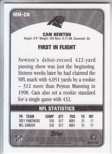 2012 topps magic magical moments cam newton qb panthers