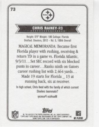 2012 topps magic mini chris rainey rookie steelers rb