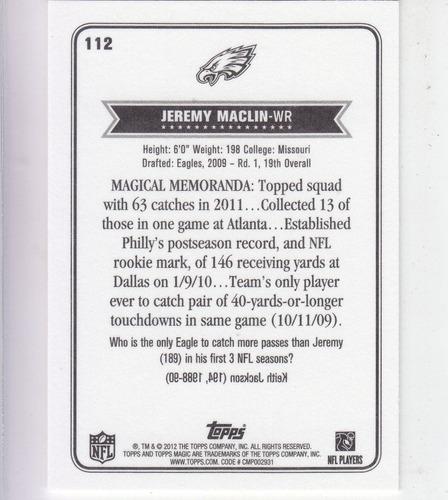 2012 topps magic mini jeremy maclin wr philadelphia eagles