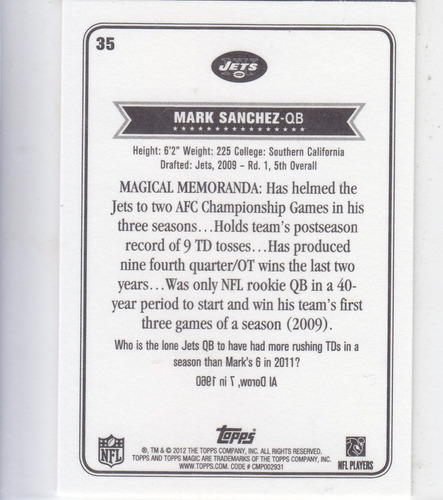 2012 topps magic mini mark sanchez qb ny jets
