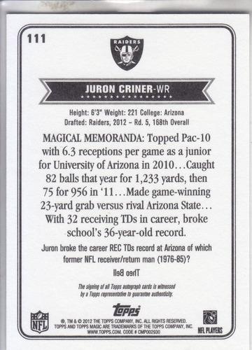 2012 topps magic rookie autografo juron criner wr raiders