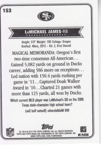 2012 topps magic rookie lamichael james rb sf 49ers