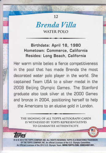 2012 topps olympic team us autografo brenda villa water polo