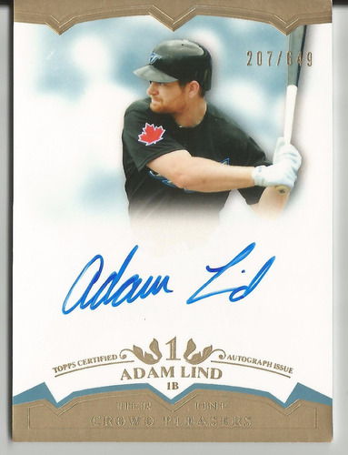 2012 topps tier one adam lind crowd pleasers autografo /649