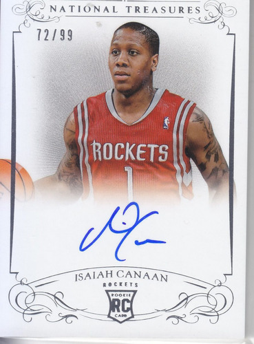 2013-14 nat treasures rc autografo isaiah canaan /99 rockets