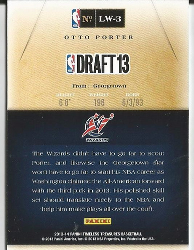 2013-14 timeless treasures otto porter lottery winners rc