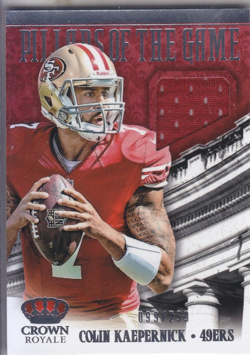 2013 crown royale game pillars jersey colin kaepernick /299
