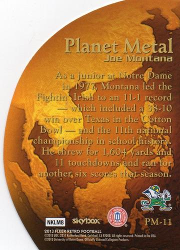 2013 fleer retro planet metal die cut joe montana 49ers