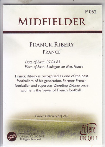2013 futera unique parallel ruby franck ribery france