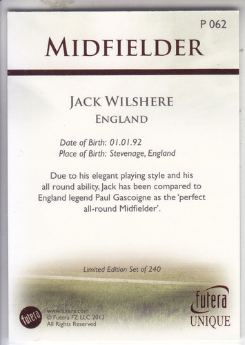 2013 futera unique parallel ruby jack wilshere england