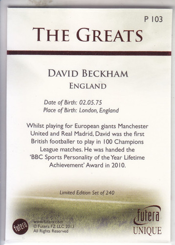 2013 futera unique the greats p ruby david beckham england
