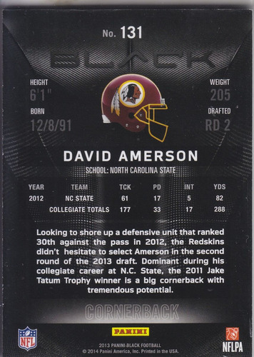 2013 panini black gold rookie david amerson cb redskins /49