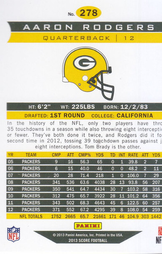 2013 score franchise aaron rodgers qb packers
