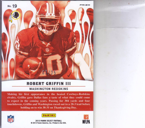 2013 select hot stars red prizm robert griffin iii qb /25