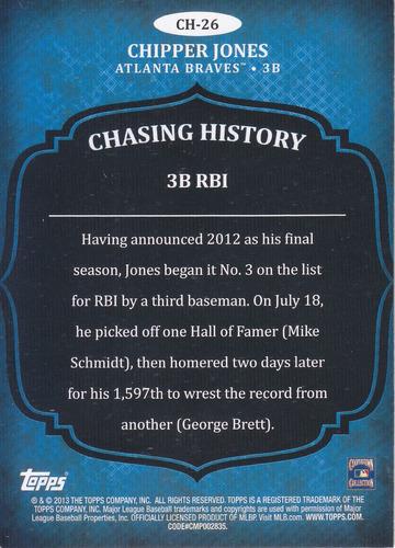 2013 topps chasing history chipper jones 3b braves
