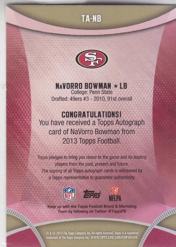 2013 topps signatures autografo navorro bowman lb 49ers