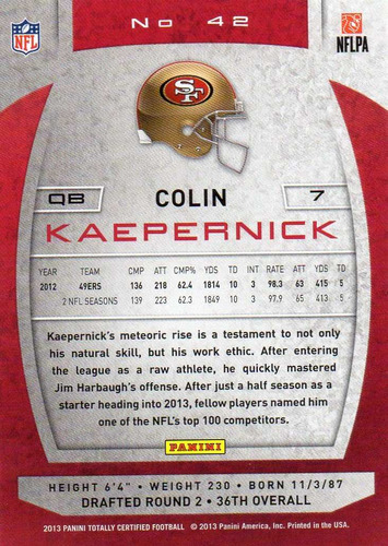 2013 totally certified colin kaepernick 49ers qb