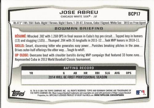 2014 bowman chrome prospects rookie jose abreu 1b white sox