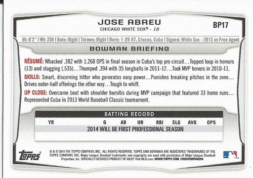 2014 bowman prospects rookie jose abreu 1b white sox