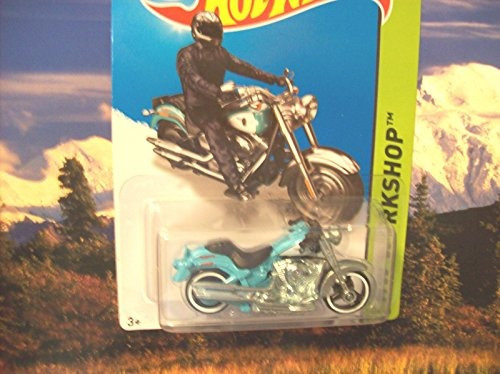 2014 hot wheels hw workshop harleydavidson fat boy azul clar