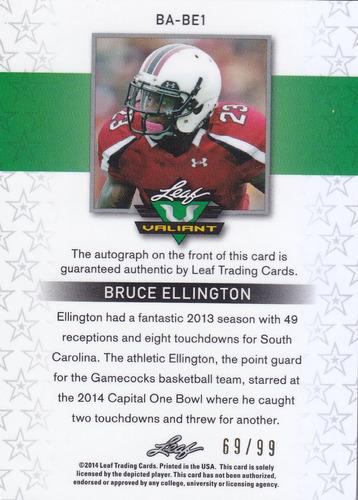 2014 leaf valiant rc autografo bruce ellington /99  49ers