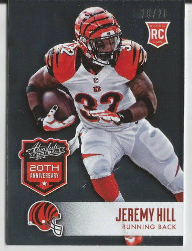 2014 panini absolute #46 jeremy hill 20th anniv /20 bengals