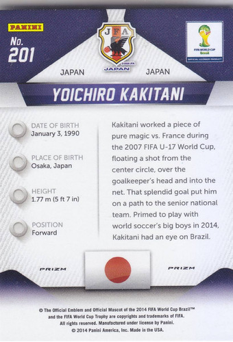 2014 prizm wc blue red white prizms yoichiro kakitani japan