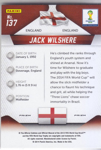 2014 prizm wc yellow red prizms jack wilshere england