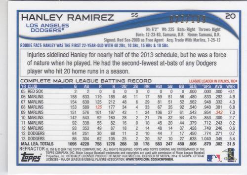 2014 topps chrome blue refractor hanley ramirez dodgers /199