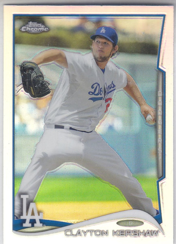 2014 topps chrome refractor clayton kershaw p dodgers