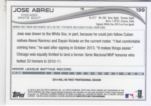 2014 topps chrome rookie jose abreu 1b white sox