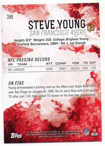 2014 topps fire steve young san francisco 49ers