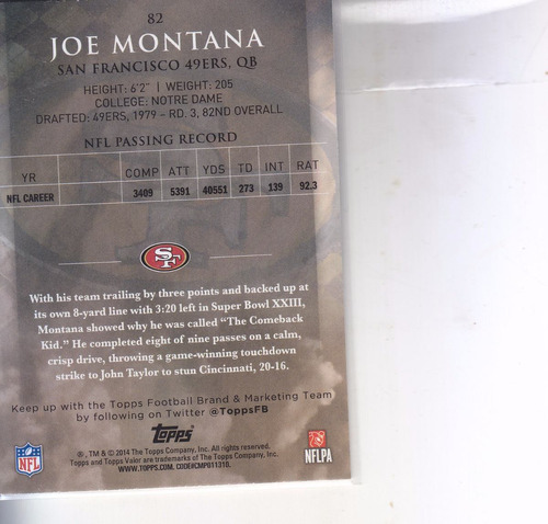 2014 topps valor joe montana qb 49ers